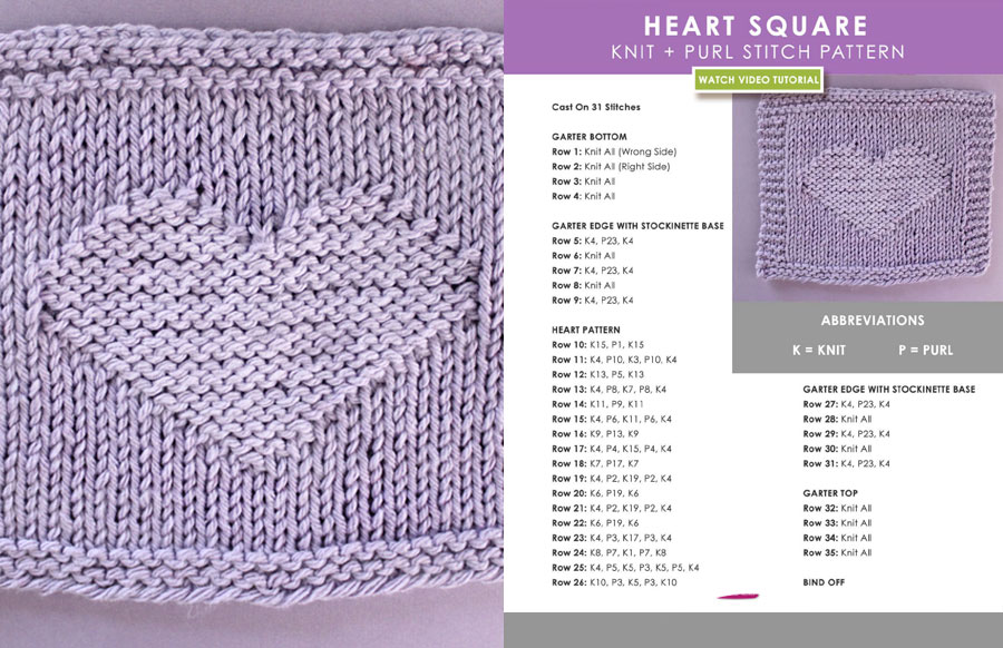 Knitted Heart Square Pattern