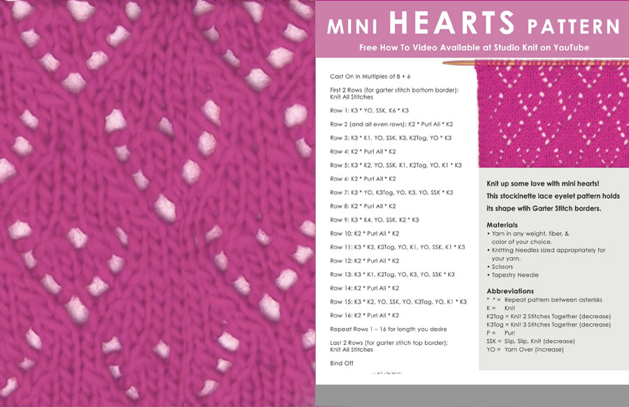 Knitted Mini Hearts Lace Printable Pattern