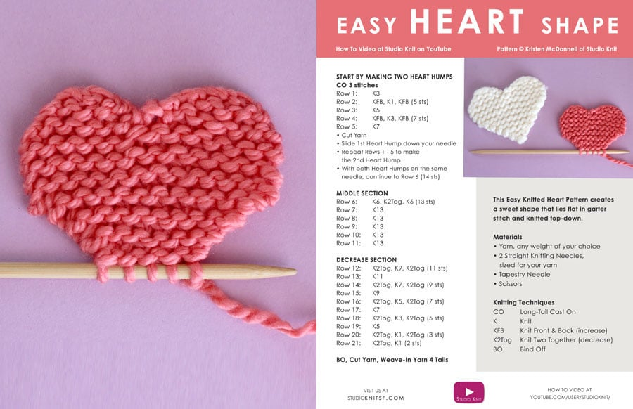 Knitted Heart with Printable Pattern