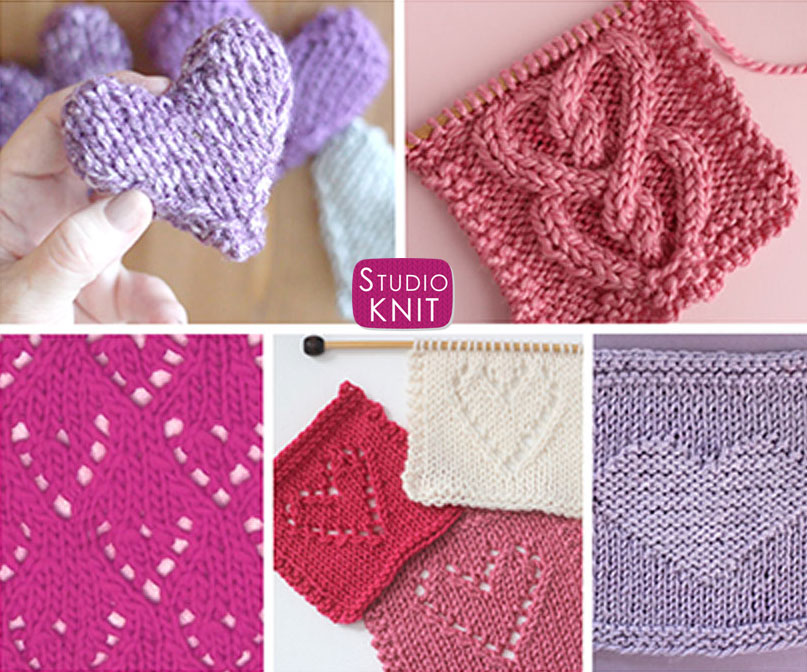 Great Collection of Popular Knit Heart Patterns by Studio Knit with free knitting patterns and video tutorials.