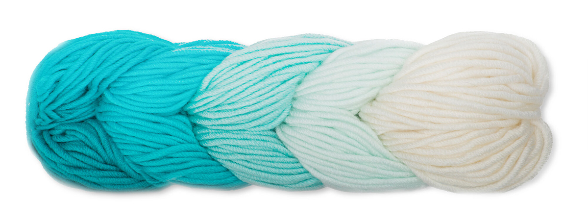 Skein of yarn in shades of blue color.