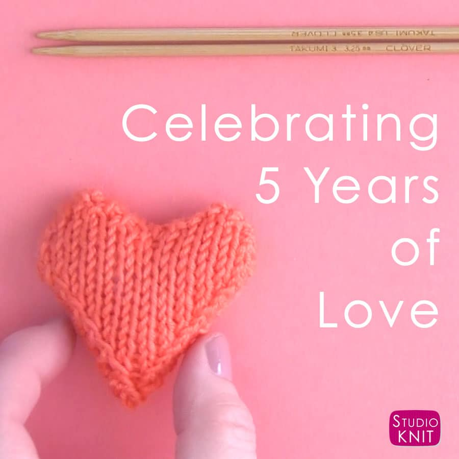 83312e00412 Studio Knit Celebrates 5 Years on YouTube with Heart Knitting Patterns