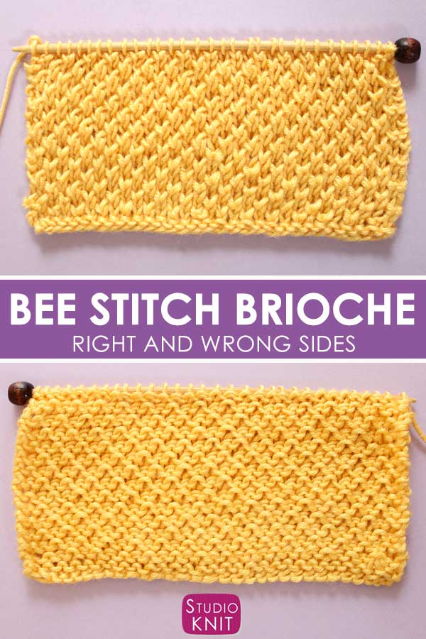 Right and Wrong Sides of the Bee Stitch Knitting Pattern