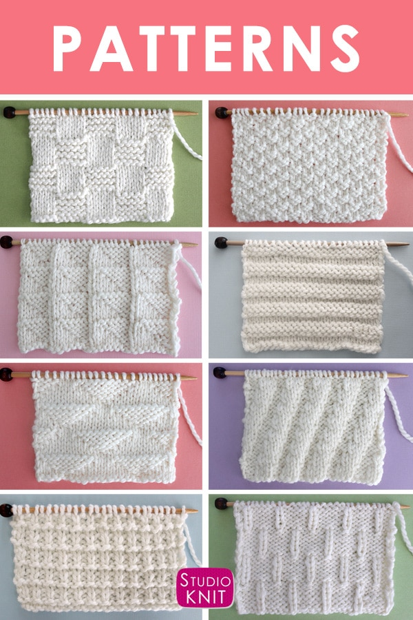 Knit Stitch Pattern Book by Studio Knit with Written Instructions and Charts
