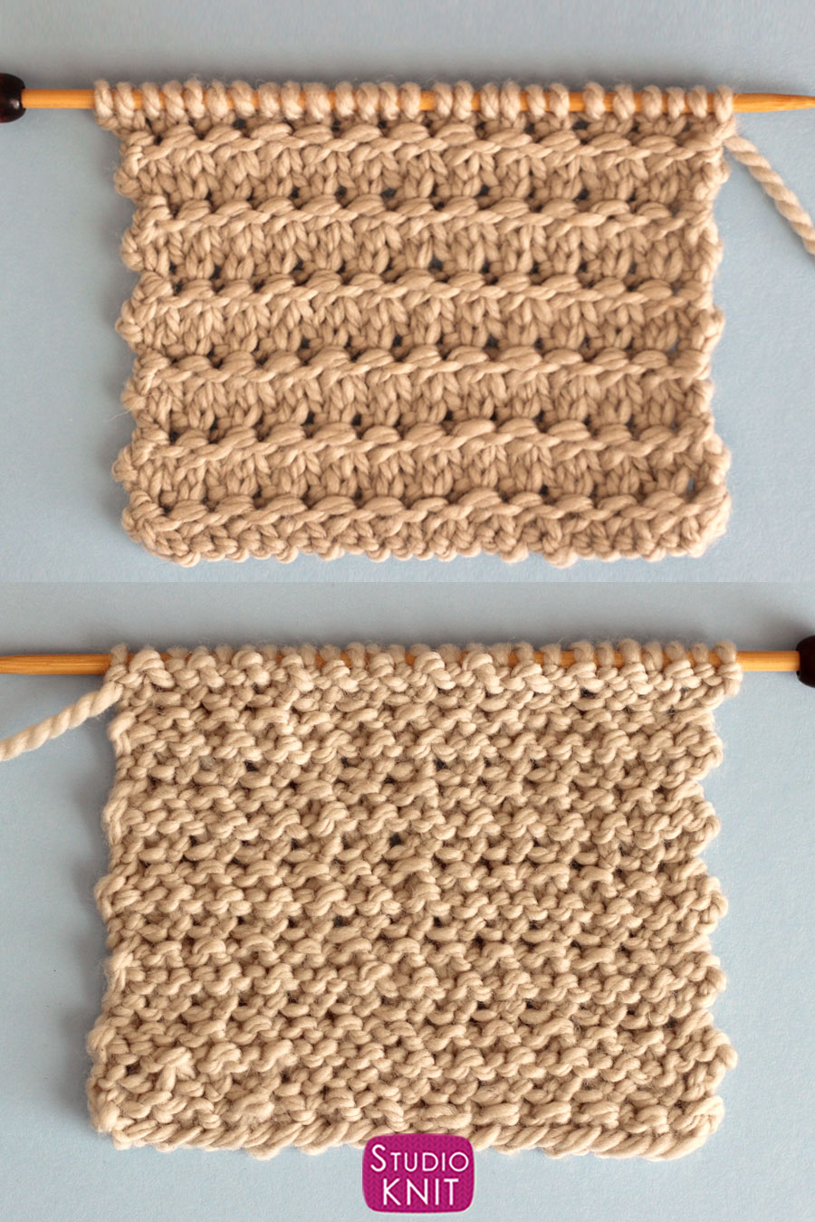 Granite Knit Stitch Right and Wrong Side