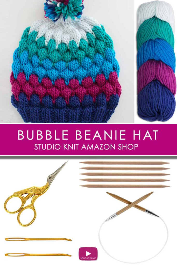 Bubble Beanie Knitted with Caron X Pantone Yarn