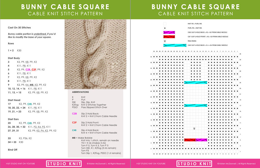 Download Bunny Cable Pattern and Chart by Studio Knit