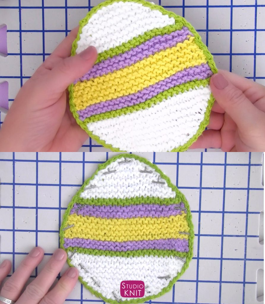 How to Block Easter Egg Dishcloth Pattern by Studio Knit