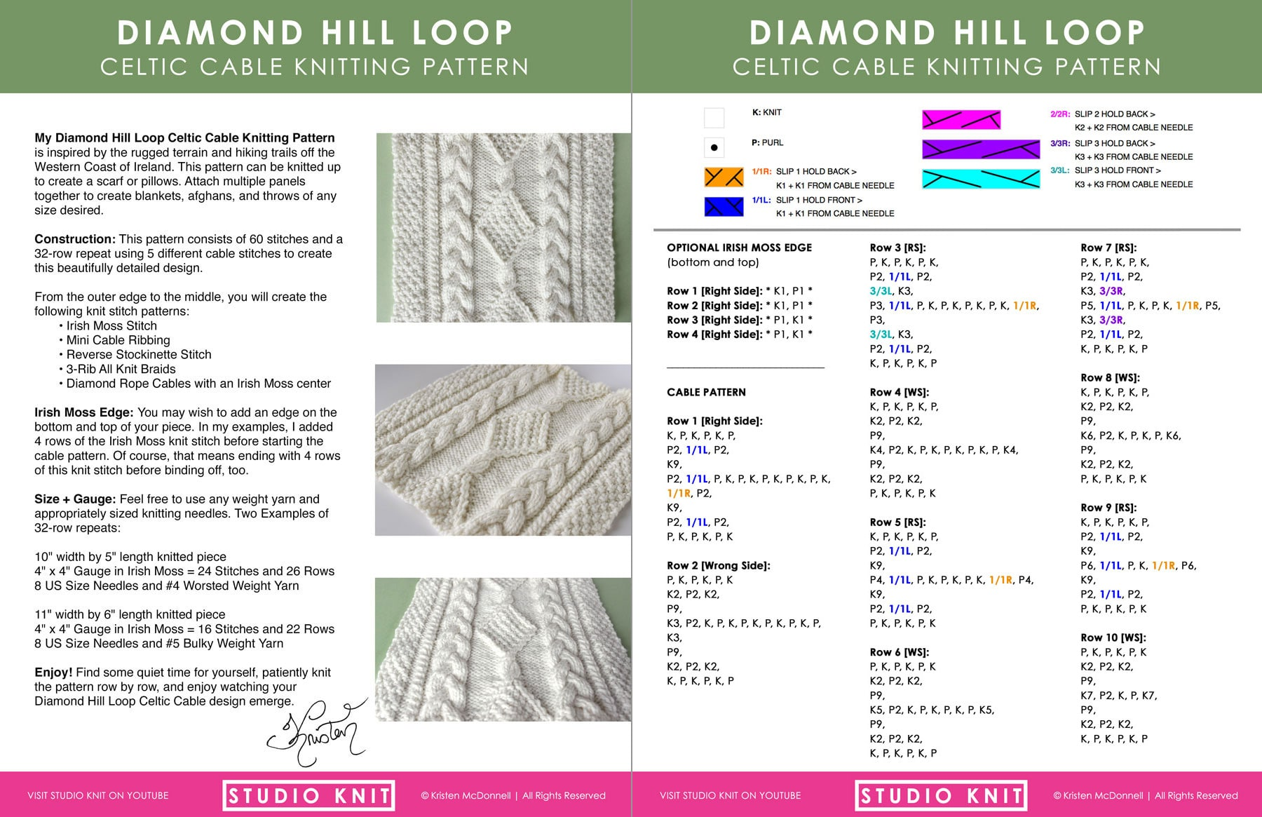 Purchase Diamond Hill Loop Celtic Cable Knitting Pattern by Studio Knit