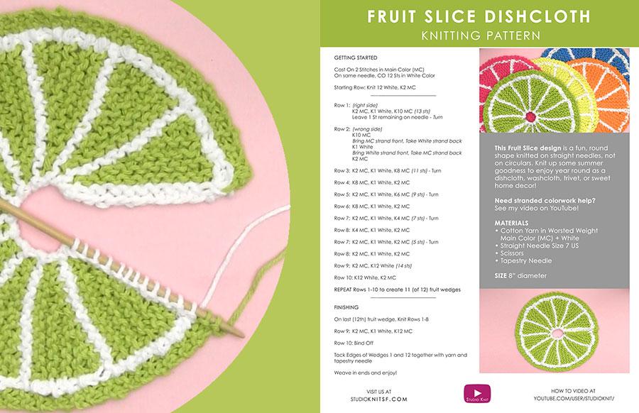 Printed Pattern thumbnail to knit the Fruit Dishcloth