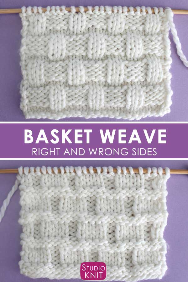 Right and Wrong sides of the Basket Weave Stitch Pattern
