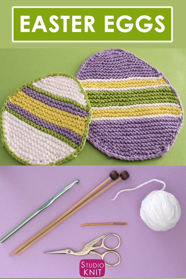 Knit an Easter Egg Dishcloth Pattern by Studio Knit