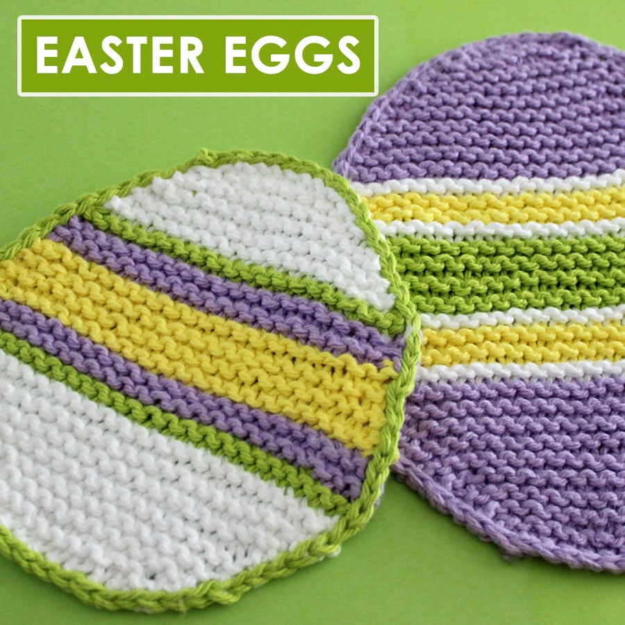 Easter Egg Dishcloth Knitting Pattern by Studio Knit