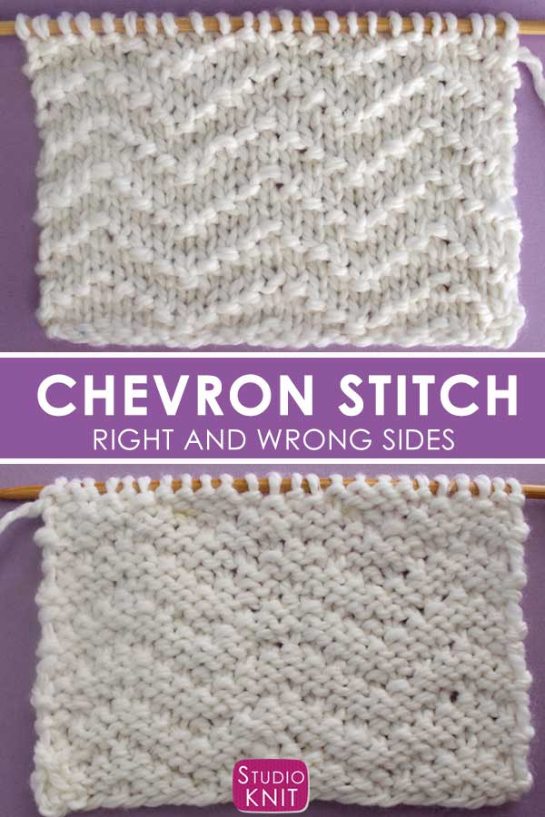 Chevron Seed Knit Stitch Pattern - Right and Wrong Sides