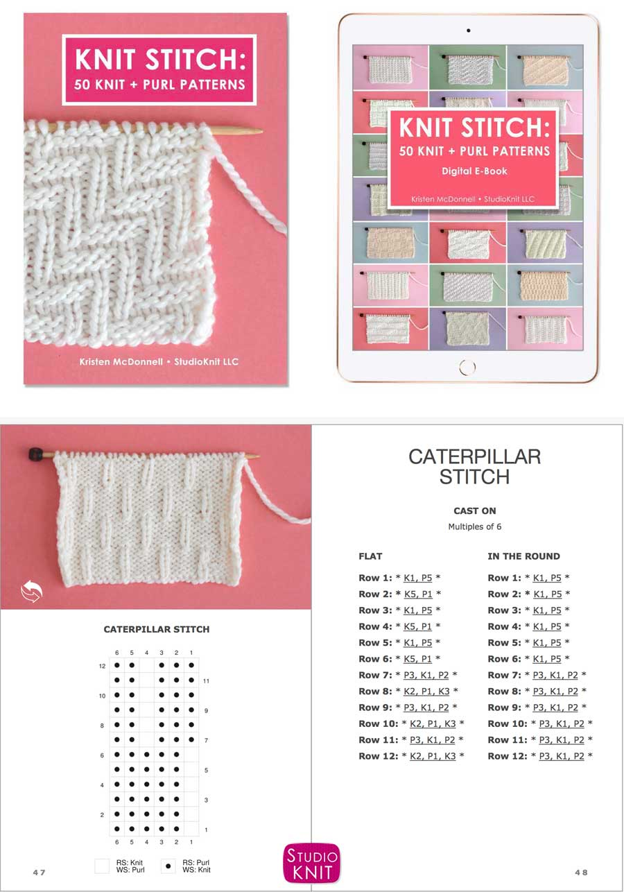 Knit Stitch Pattern Book with Caterpillar Stitch Pattern by Studio Knit