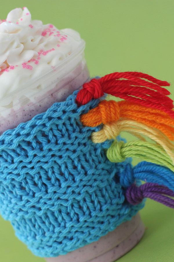 Knitted Unicorn Drink Cozy by Studio Knit