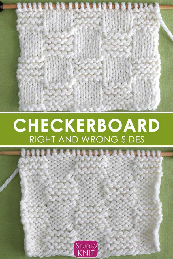 Garter Checkerboard Stitch Right and Wrong Sides