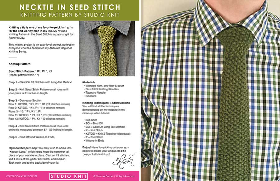 Knitting Tie Pattern in Seed Stitch Download by Studio Knit