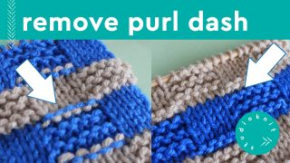Remove Purl Dash Lines in knitting with two colors in checkerboard knit stitch pattern