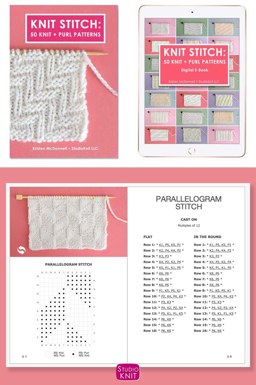 Knit Stitch Pattern Book with Parallelogram Stitch Pattern