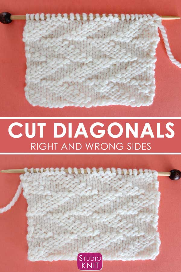 Reversible Cut Diagonals Stitch Knitting Pattern Right and Wrong Sides