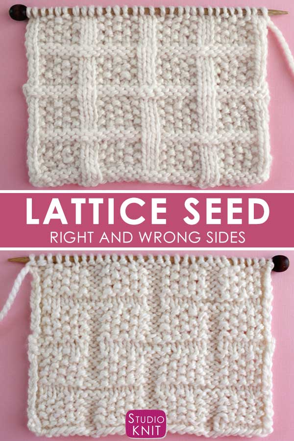 Lattice Seed Stitch Knitting Pattern Right and Wrong Sides