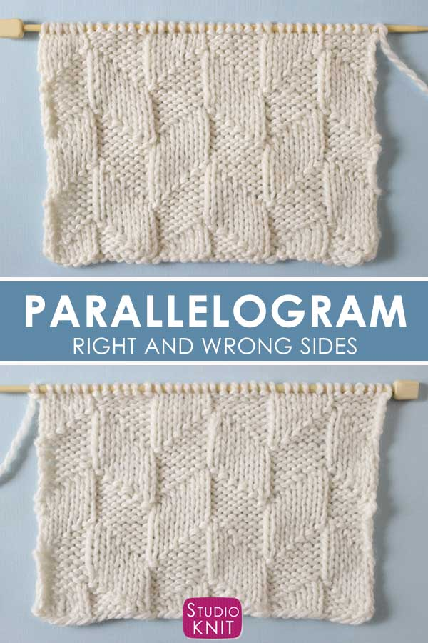 Parallelogram Stitch Knitting Right and Wrong Sides