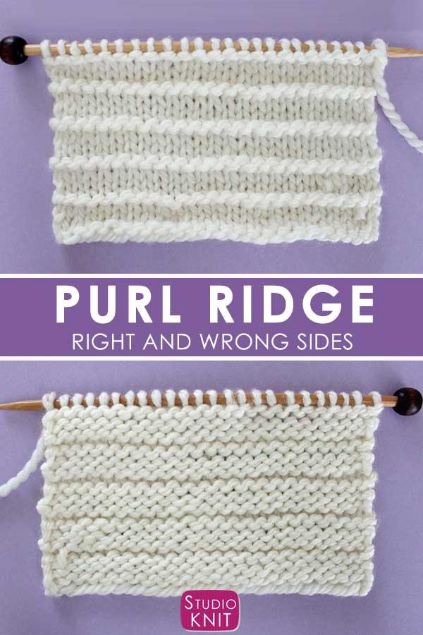 Purl Ridge Stitch Knitting Pattern Right and Wrong Sides