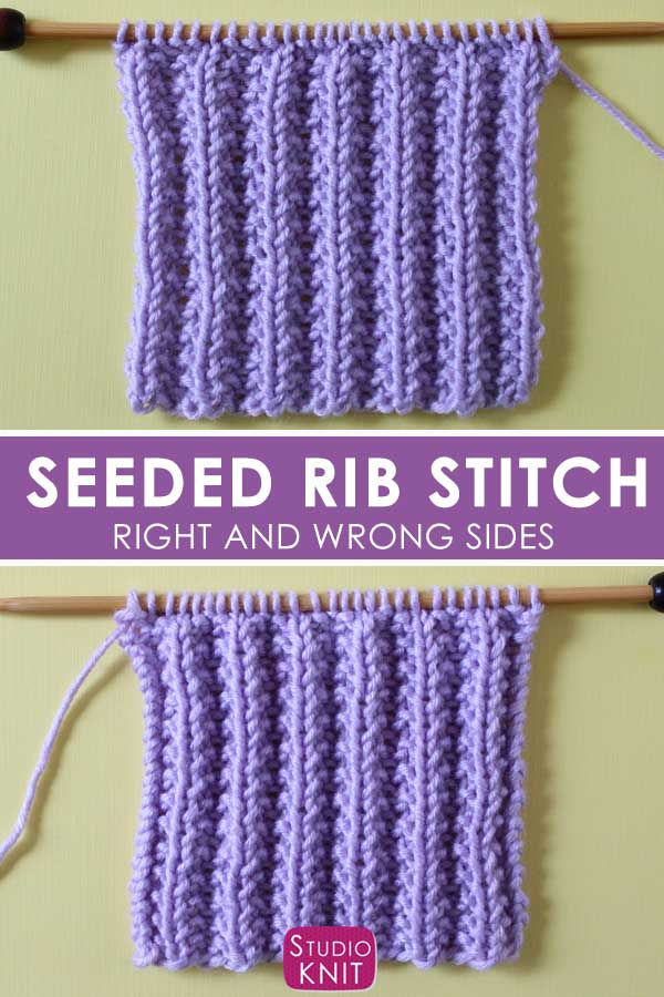 Right and Wrong Sides of Seeded Rib Stitch Pattern