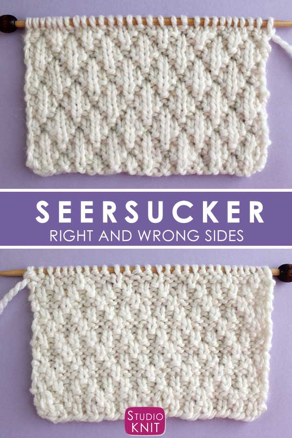 Seersucker Stitch Knitting Pattern Right and Wrong Sides
