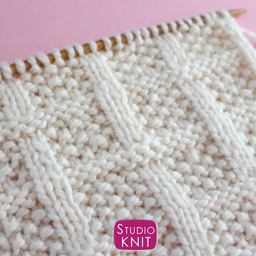 Lattice Seed Stitch Knitting Pattern Close-Up