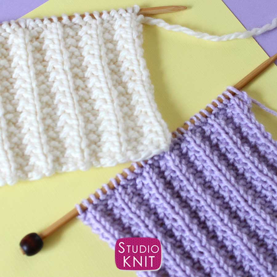 Seeded Rib Stitch Pattern knitted swatches