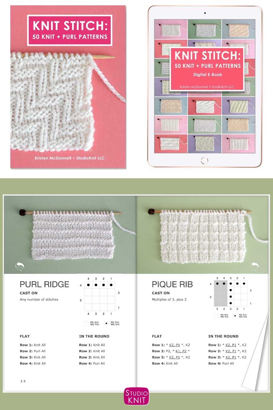 Knit Stitch Pattern Book with Purl Ridge and Pique Rib Stitches
