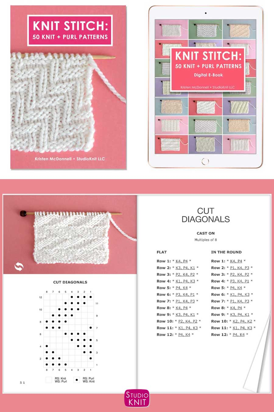 Knit Stitch Pattern Book with Cut Diagonals Stitch