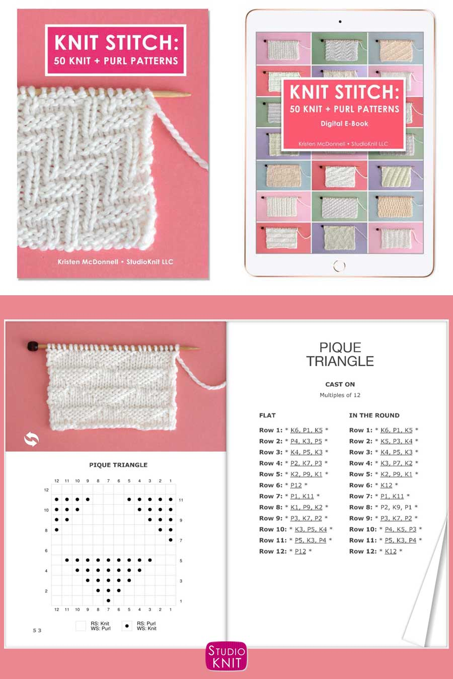 Knit Stitch Pattern Book with Pique Triangles Stitch