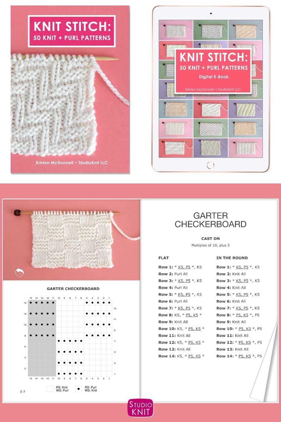 Knit Stitch Pattern Book instructions and knitting chart of Garter Checkerboard Stitch