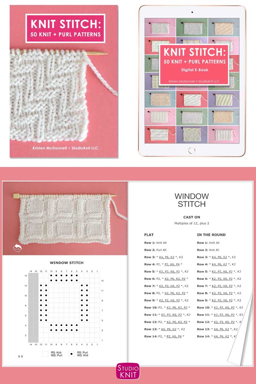 Knit Stitch Pattern Book with Window Stitch by Studio Knit