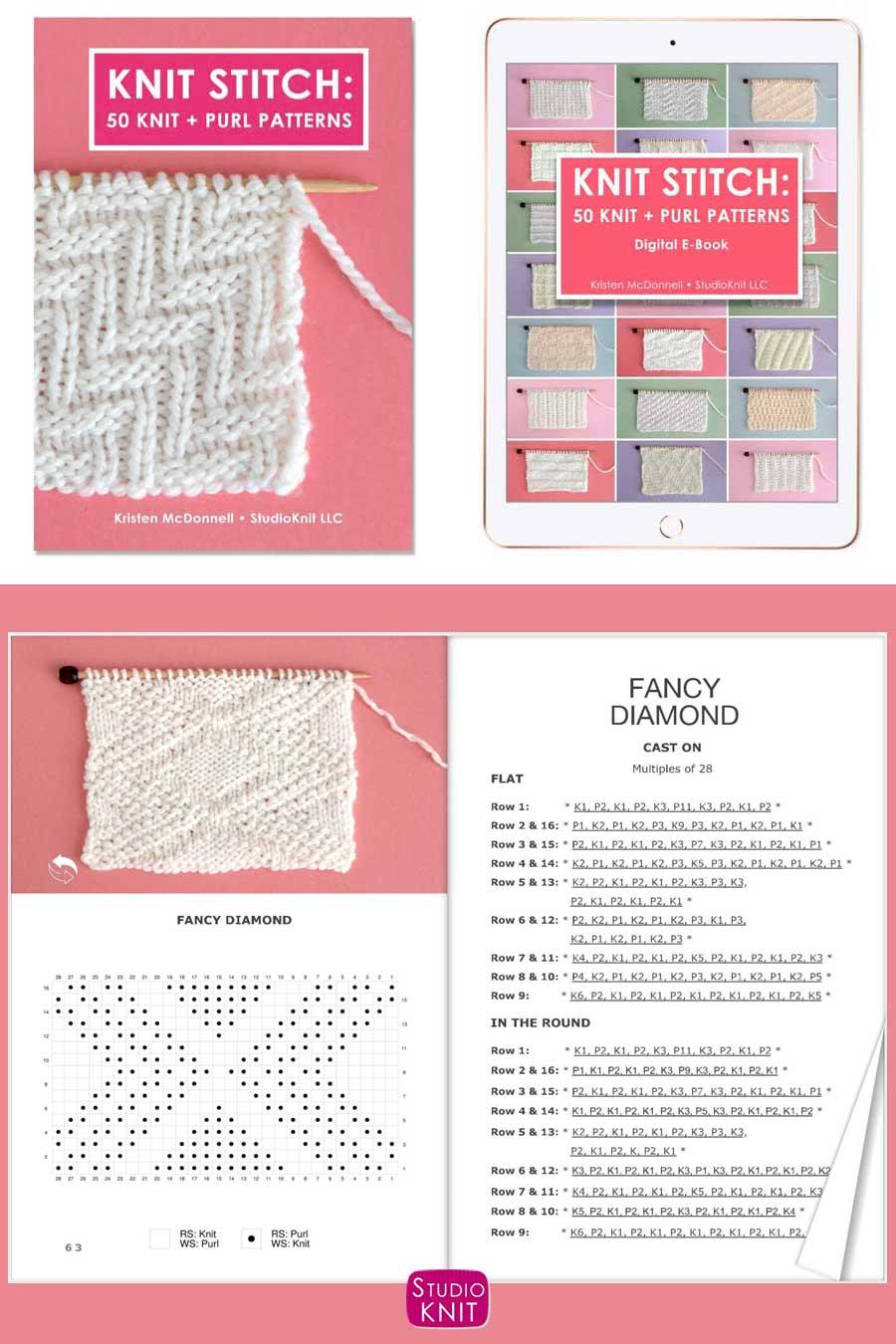 Knit Stitch Pattern Book with Fancy Diamond Stitch