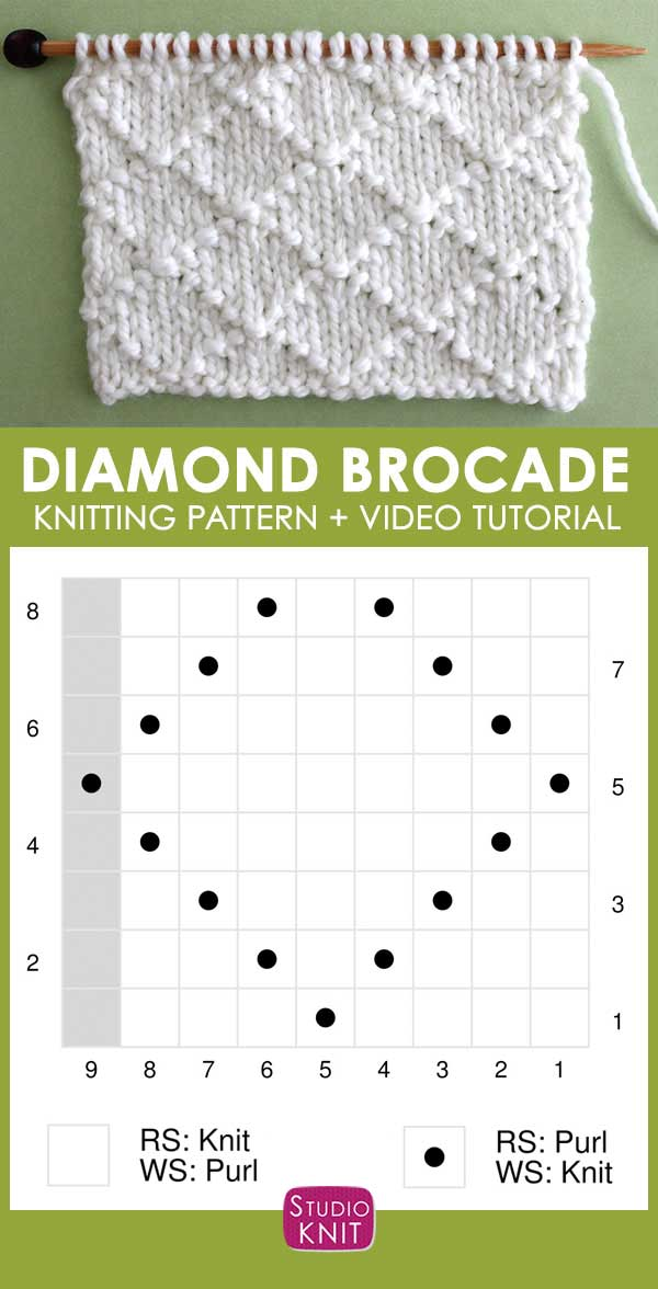 Knitting Chart Diamond Brocade Knit Stitch Pattern