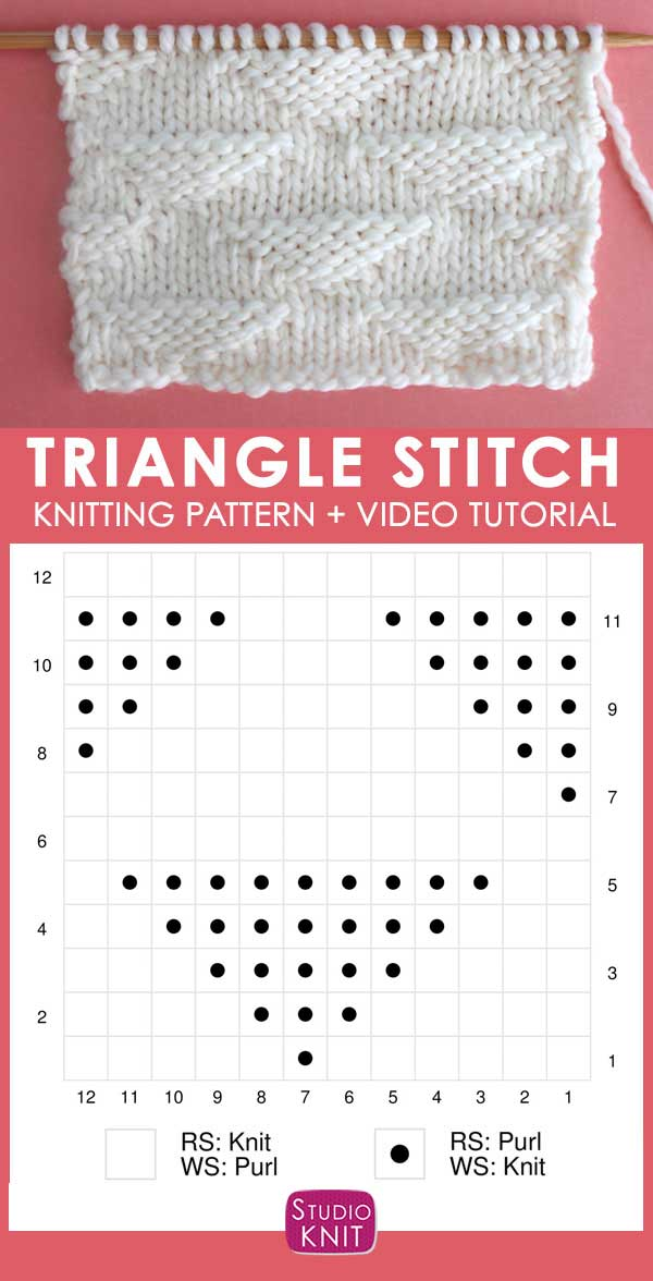 Knitting Chart Pique Triangle Knit Stitch Pattern