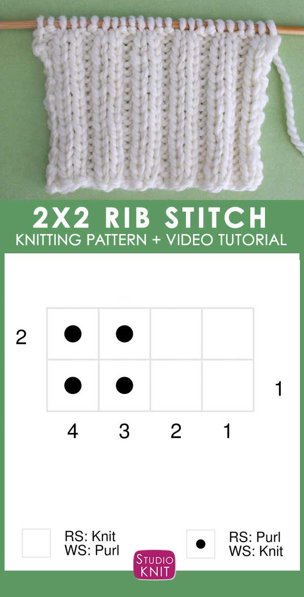Knitting Chart of 2x2 Rib Knit Stitch Pattern Chart with Video Tutorial by Studio Knit