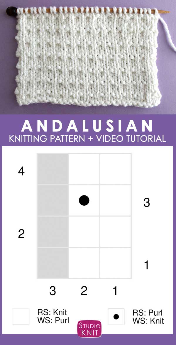 Knitting Chart Andalusian Knit Stitch Pattern by Studio Knit with Free Pattern and Video Tutorial
