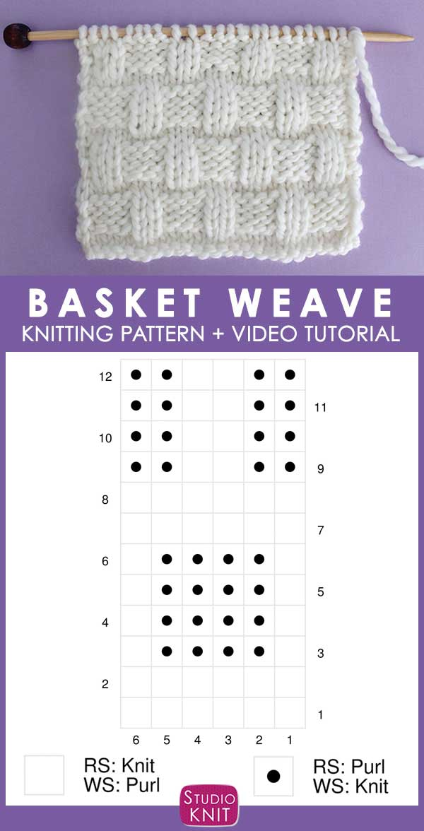 Basket Weave Knit Stitch Pattern Chart with Video Tutorial by Studio Knit