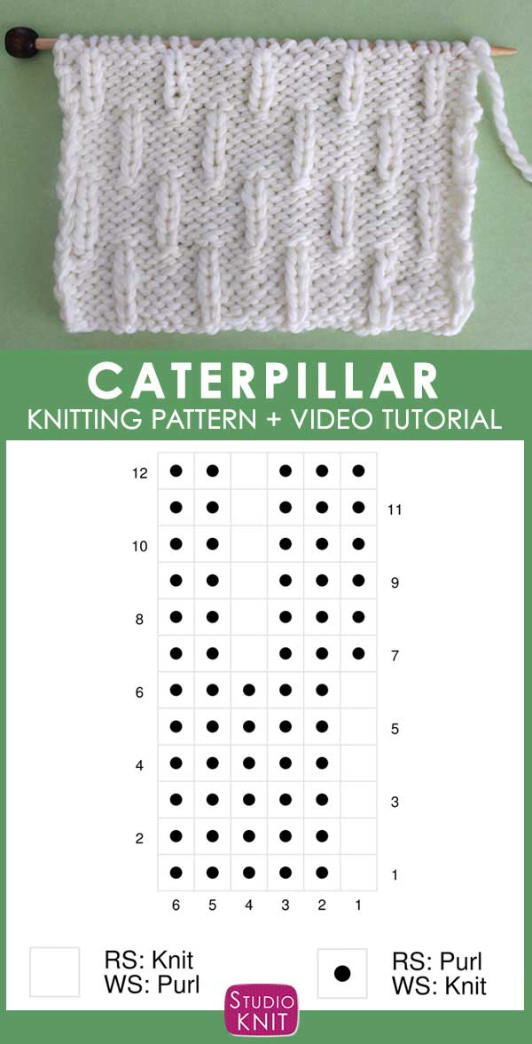 Knitting Chart of Caterpillar Knit Stitch Pattern Chart with Video Tutorial by Studio Knit