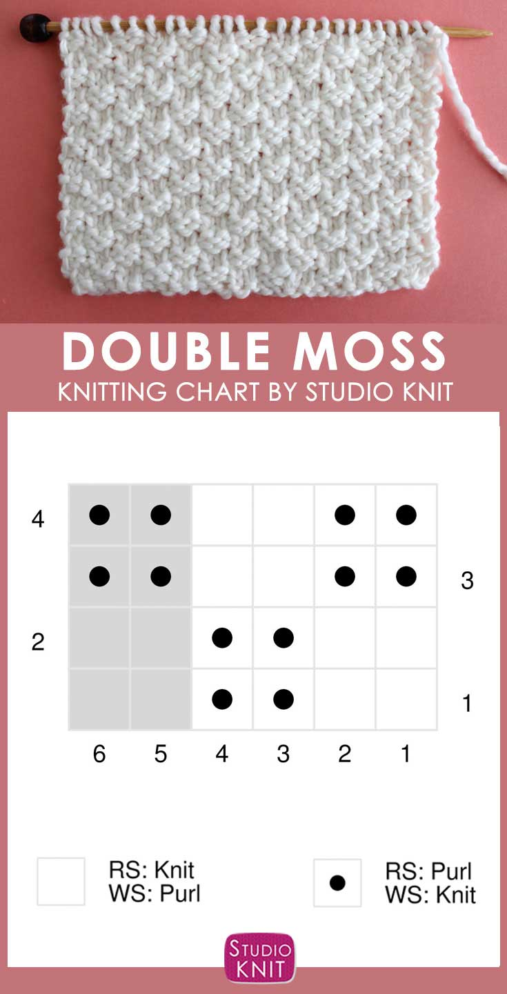 Double Moss Knit Stitch Pattern Chart with Video Tutorial by Studio Knit
