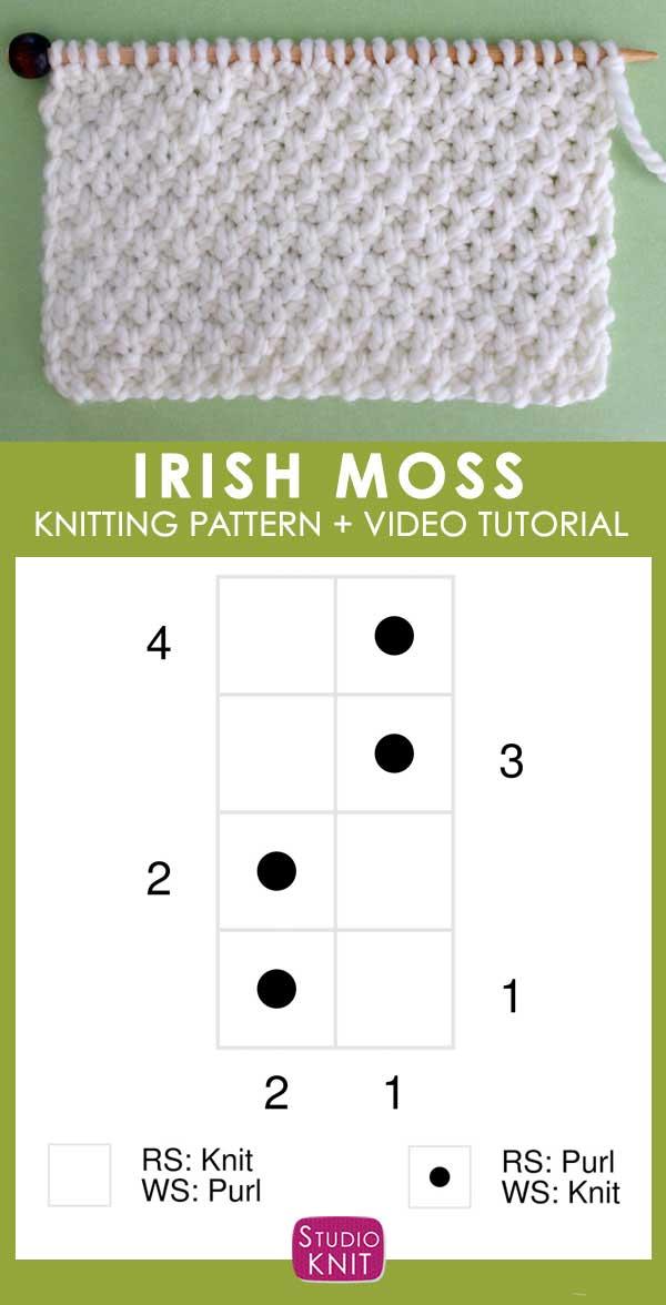 Irish Moss Knit Stitch Pattern Chart with Video Tutorial by Studio Knit
