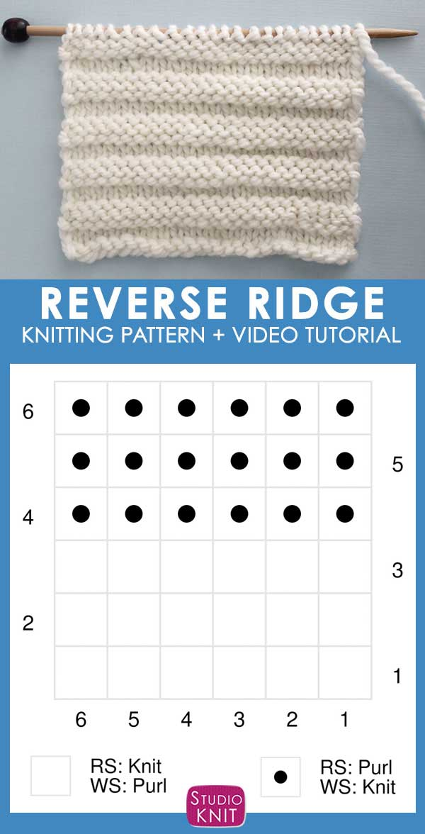 Knitting Chart Reverse Ridge Knit Stitch Pattern by Studio Knit with Free Pattern and Video Tutorial