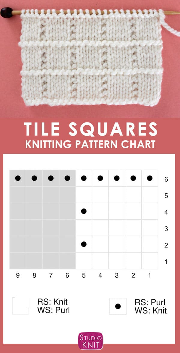 Tile Squares Stitch Knitting Chart