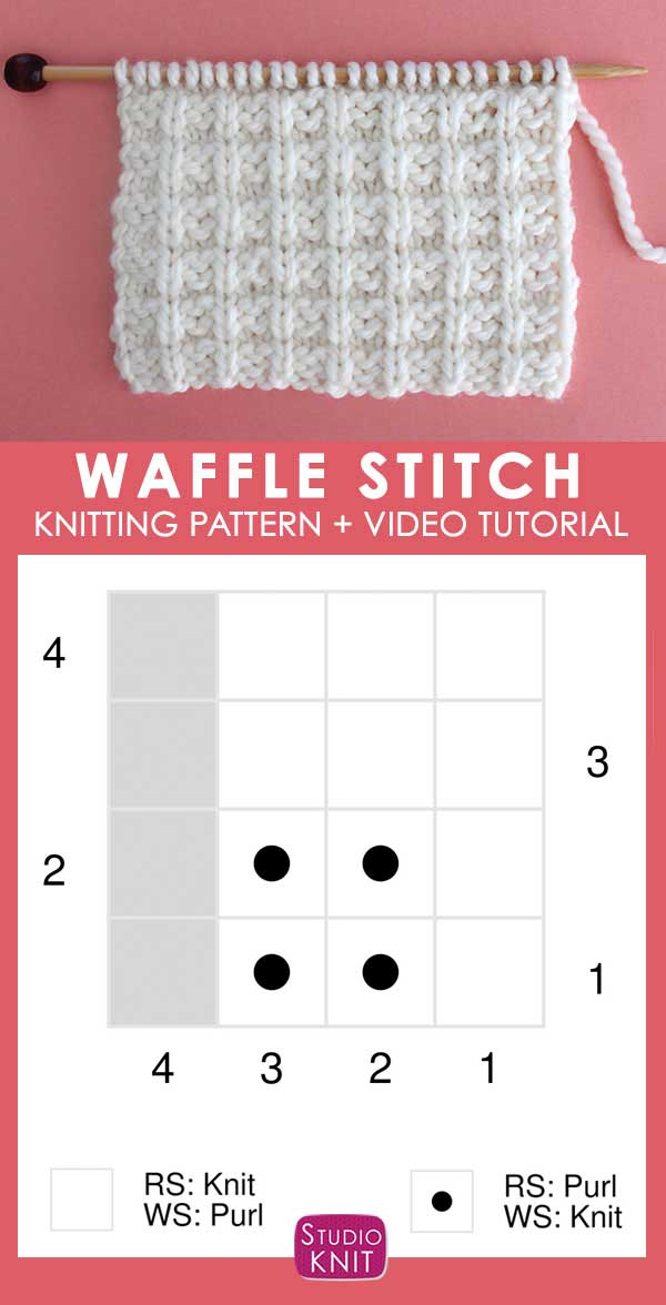 Chart of Waffle Knit Stitch Pattern with Video Tutorial by Studio Knit
