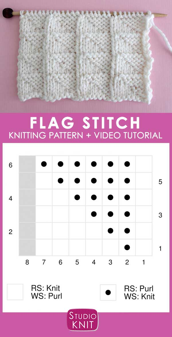 Chart of Flag Knit Stitch Pattern with Video Tutorial by Studio Knit